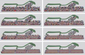 Qualitative Darstellung des Räumungsverlaufs über die vorhandenen Rettungswege zu verschiedenen Zeitpunkten