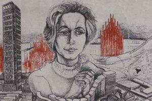 Porträtzeichnung von Architektin Iris Dullin-Grund