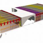 3D-Ansicht der Holzbaukonstruktion. Modell: Kaufmann Bausysteme GmbH