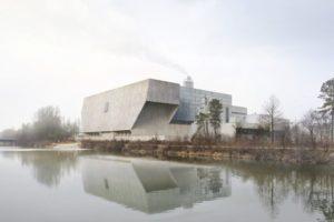 Penzel Architekturwettbewerb Kehrrichtverbrennungsanlage KEBAG, Zuchwil, 2017. Visualisierung: Nightnurse Images, Zürich