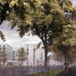 Wohngebäude mit Bäumen im Vordergrund. Michael Meier und Marius Hug Architekten AG. Oesch-Areal, Zug, 2017. Visualisierung: Nightnurse Images, Zürich