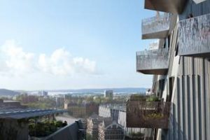 """In dem innovativen Wohn- und Bürogebäude """"Gullhaug Torg 2A"""" in Oslo soll ab 2020 eine natürliche Lüftung für ein angenehm frisches Raumklima sorgen. Bild: MIR"""