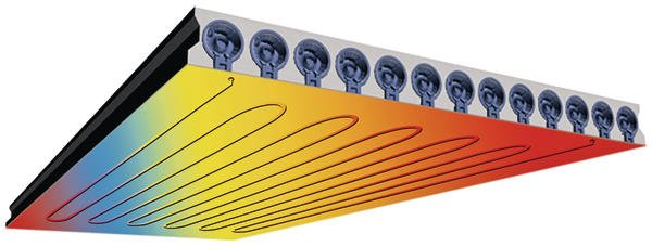 Die Raumklimadecke DX Therm heizt und kühlt auf energiesparende Weise. Bild: Dennert