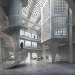 Innenraum mit Spindeltreppe und Glasbausteinen. Boltshauser Architekten AG. Visualisierung: Nightnurse Images, Zürich