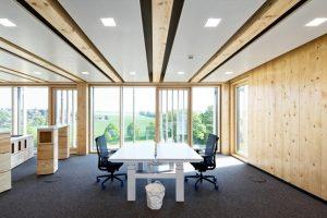 Holz-Beton-Verbunddecke von Brüninghoff beim Shopware-Neubau in Schöppingen. Bild: Brüninghoff