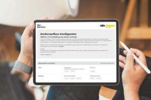Tablet mit Deckenaufbau-Konfigurator für Trittschall-Dämmwerte