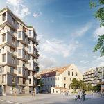 So wird es aussehen: Das neue Wohn- und Gewerbequartier kupa auf dem Gelände der historischen Kuvertfabrik in München-Pasing. Bild: Bauwerk Capital GmbH & Co.KG