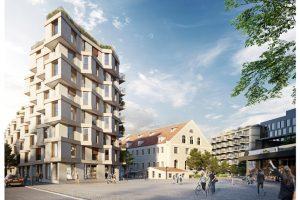 Leben, Arbeiten, Wohnen der Zukunft: Bei der Quartiersentwicklung des kupa in München wurden Megatrends berücksichtigt. Bild: Bauwerk Capital GmbH & Co.KG
