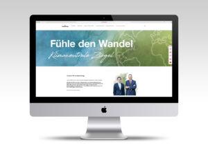 Monitor mit Webseite von Wienerberger zum Thema nachhaltiges Bauen
