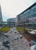 Das Microsoft-Areal wurde campusartig bebaut in parkartiger Außenatmosphäre.Verglaste Brückenstege als Verbindungswege zwischen den Gebäuden erinnern an ein Computer-Netzwerk.