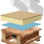 Systemaufbau Dämmung oberste Geschossdecke: Kleinformatiges Element (1 200 x 620 mm) mit oberseitiger Holzwerkstoffplatte.