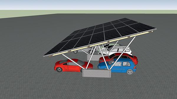 Parkend Strom erzeugen und Gewinn erwirtschaften: Carport-Systeme mit Photovoltaik-Panels. Bild: ECS Solar