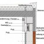 Detailschnitt Fassade und Flachdach. Bild: Architekten E. Wunderle
