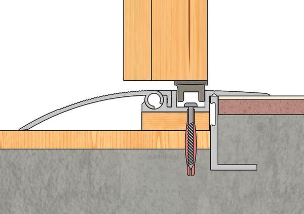 Türschwelle: Die Magnet-Renovierungsschwelle kann bis zu 3 cm Höhenunterschiede ausgleichen. Bild:Alumat Frey