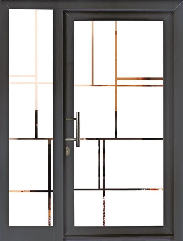 Sandgestrahlte Glasfüllung mit durchsichtigem Motiv, Sicherheitsglas-Standard als P5A-Verglasung. Bild: Unilux