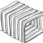 In der ersten Entwurfsskizze sind bereits die Windungen einer Spule als räumliches Falt- oder Wickelwerk sichtbar.