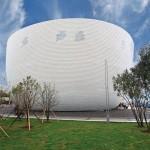 Finnischer Pavillon auf der World Expo in Shanghai: Leichte UPM-Fassade für temporären Leichtbau. Bild: Finpro/Lucas Schifres