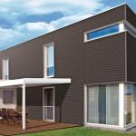 Das von Terrassendielen bekannte WPC in einer Anwendung an der Fassade. Bild: Werzalit