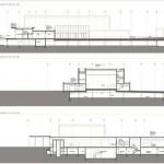 Die Schnitte zeigen die Einbettung der Reblandhalle in die vorhandene Topographie.
