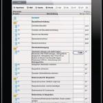 Leistungsverzeichnis auf dem Tablet.