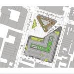 Lageplan mit Mall (groß) und Kulturzentrum (kleines Dreieck). Zeichnungen: Benthem Crouwel