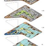 Grundrisse Einkaufszentrum: Shops (Hellblau), Gastronomie (Dunkelblau), Treppen/Aufzüge (Rot), Mall (Gelb), Nebenflächen/Lager/Technik (Orange).