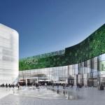 Zwischen Einkaufszentrum rechts und Kulturzentrum links (mit weiß bedruckter Glasfassade) entstand ein vielseitig nutzbarer Platz.