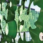 Aluminiumtafeln wurden wie Weinblätter geformt und in drei verschiedenen Grüntönen beschichtet.