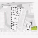 Lageplan mit Grundrissen: Gebäude ANA in Grün. Zeichnung: immolog.Architekten