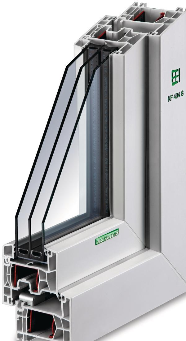 Schnitt durch ein dreifach-verglastes Fenster und den dazugehörigen Rahmen. Bild: Kneer-Südfenster