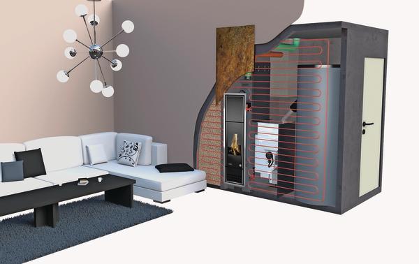 Computermodell zeigt das Innenleben einer Wandheizung mit integriertem Kamin. Bild: Autark Energie