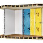 Klassischer Aufbau einer Innendämmung mit Ständerwerk, Dampfsperre und anschließender Beplankung mit Gipsplatten - hier ausgeführt mit einem Komplettsystem aus aufeinander abgestimmten Komponenten und spezieller Klickbefestigung. Grafik: Ursa