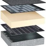 PIR Gefälledämmung, darauf zweilagiger Bitumenaufbau für den Neubau auf Beton-Dachkonstruktionen.