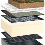 Zweilagiger, durchwurzelungsfester Bitumenaufbau für extensive Dachbegrünung.