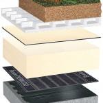 Durchwurzelungsfester Dachaufbau mit einlagiger Kunststoff-Abdichtung (FPO) für Dachbegrünung.