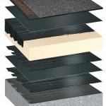PIR Kompaktdach: Abdichtung und Wärmedämmung sind untereinander und mit dem Untergrund kompakt verklebt. Bilder: Bauder