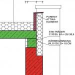 Detail: Anschluss der Fassadendämmung an das Attikaelement.