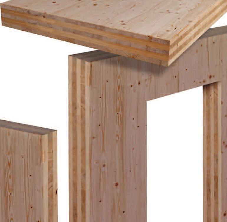 Querverleimte Holzbauelemente. Bild: Derix