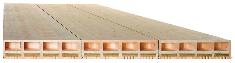 Holzplatten für den Deckenbau. Bild: Lignatur