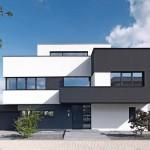 Privates Wohnhaus mit skulpturaler Architektur am Kölner Stadtrand: Einzelne Raumelemente entwickeln sich aus einem Basisquader.