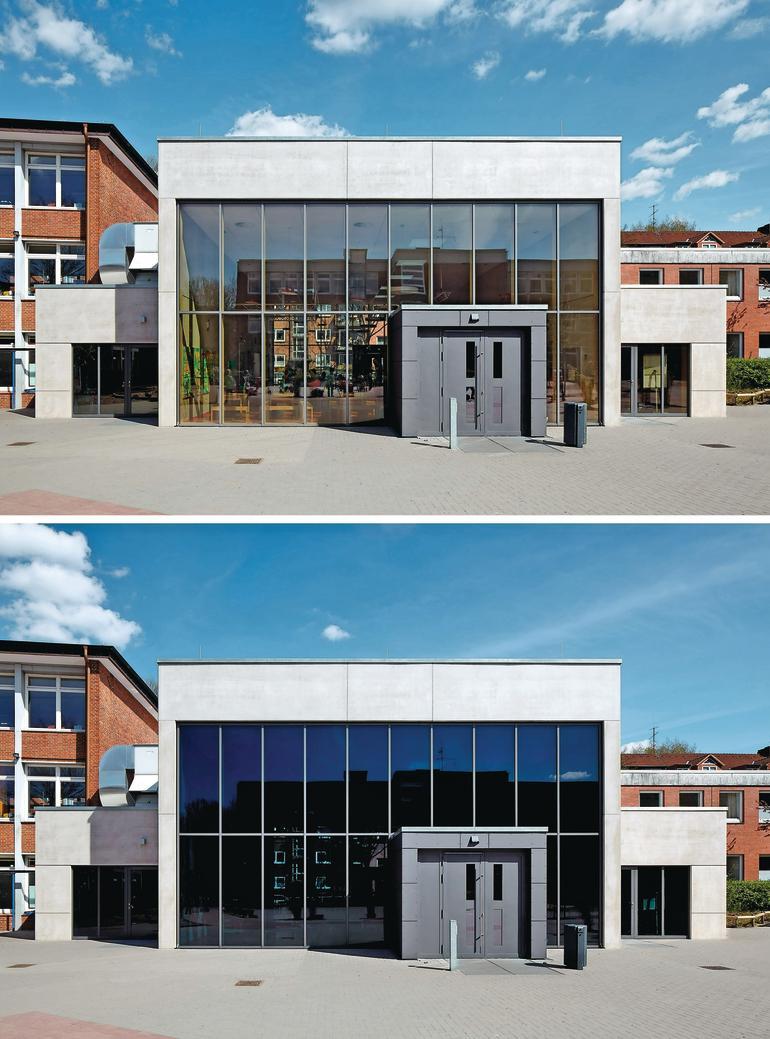 Variable Dimmung des elektrochromen Glases: Der Bildvergleich (außen und innen) verdeutlicht die Einfärbung. Bilder: EControl-Glas