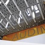 Mit vertikalen Akustikbaffeln entstand im Audimax der Hochschule Rhein-Waal eine optisch spannende Alternative zu konventionellen abgehängten Akustikdecken. Bild: Knauf AMF