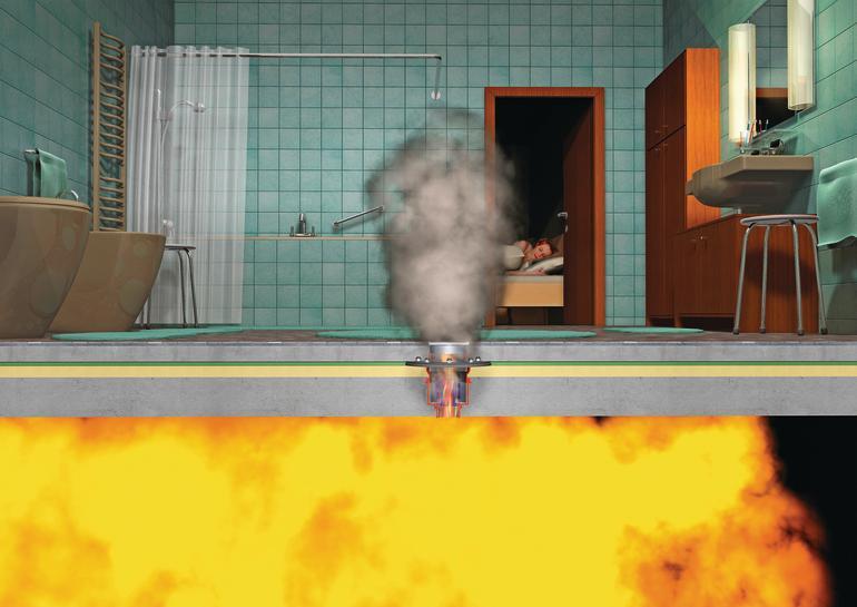 Kritischer Punkt: Bei Abläufen ohne Brandschutzelemente können sich Rauch und Feuer im nächsten Stockwerk ausbreiten.