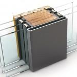 Glasteilende Kämpfer mit 97 mm Breite sorgen für die Statik.