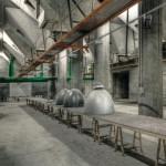 Das Gebäude wurde technisch behutsam modernisiert, der industrielle Charakter dabei bewahrt: so auch bei den Veranstaltungsräumen im UG.