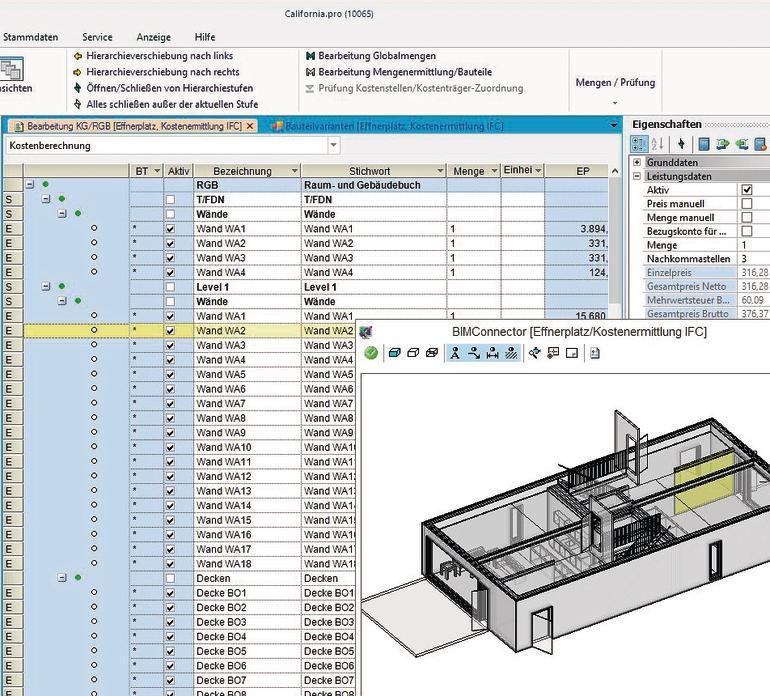 BIM-Software. Bild: G&W Software Entwicklung GmbH