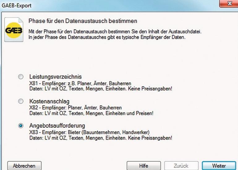 Programminterface mit drei Wahlmöglichkeiten. Bild: ORCA