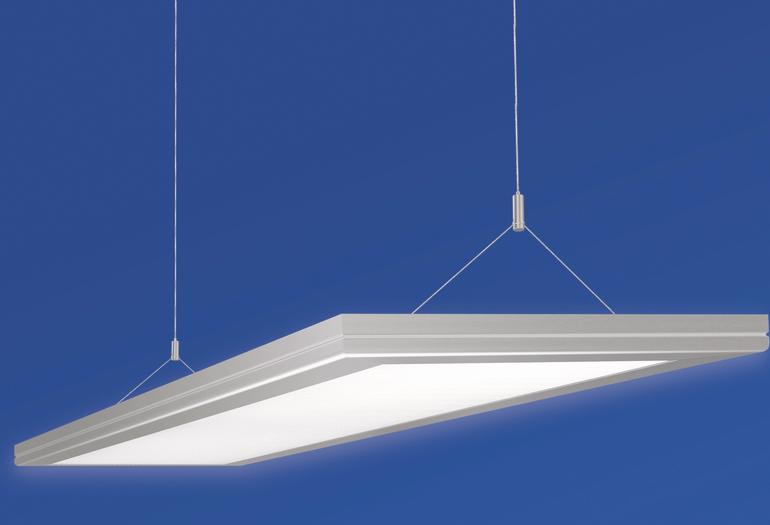 Deckenpanel mit eingebauter LED-Leuchte. Bild: Regiolux