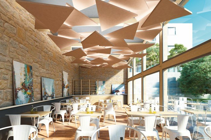 Wandabsorber akustiksegel oder baffeln raumakustik zum for Rockfon faux plafond