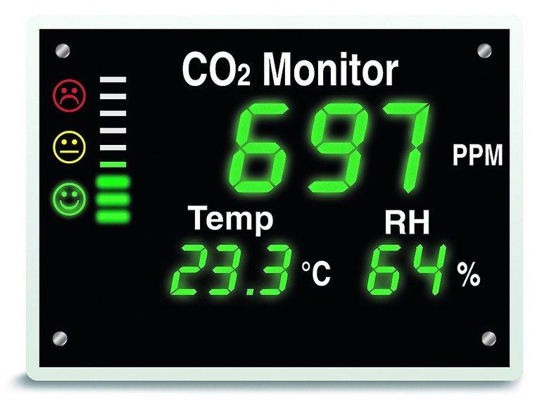 Anzeige eines CO2-Monitors. Bild: Airflow